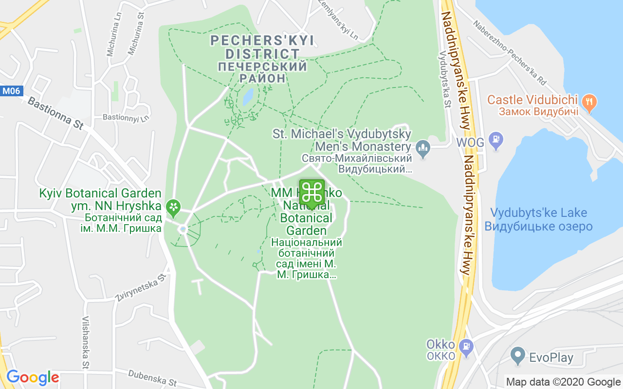 Map showing location of National Botanical Garden