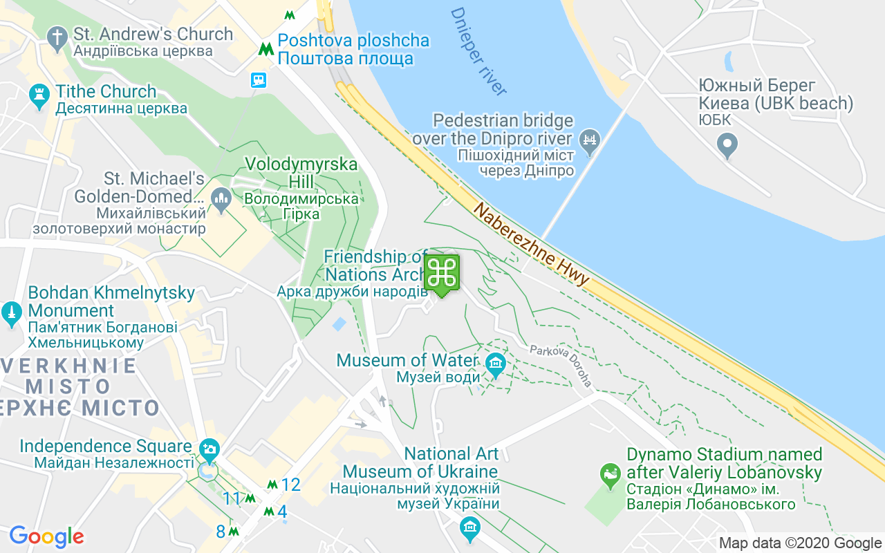 View Of The Dnieper River From Khreshchatyk Park Dnieper River Map on