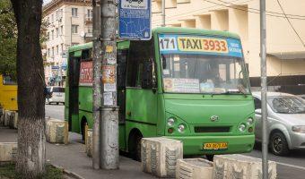Small green bus in Kiev city centre