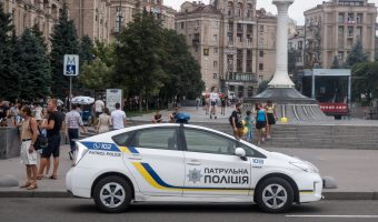 Ukrainian police patrol car parked in Kiev on Khreshchatyk, near Independence Square