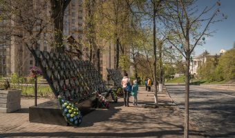 Memorial to the Heroes of the Heavenly Hundred, the protesters killed during Euromaidan. Situated on Heroyiv Nebesnoyi Sotni Alley, near the Hotel Ukraine and Independence Square.