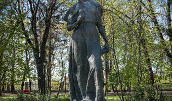 Statue of Ukrainian author Lesya Ukrainka in City Garden, a park in Kiev city centre.