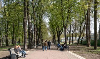 Tree-lined path in City Garden, a beautiful park in the centre of Kiev.