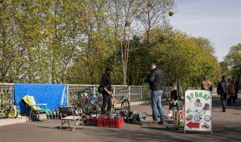 Inline skate hire in City Garden park in Kiev, Ukraine.