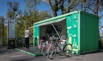 Bicycle hire in City Garden park in Kiev, Ukraine