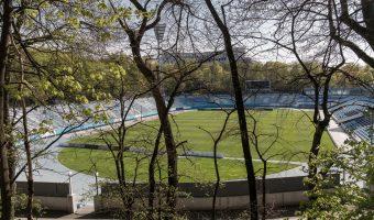 View of the Valeriy Lobanovskyi Dynamo Stadium from City Garden, a park in Kiev.