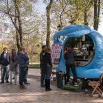 Magic Snail coffee truck in Khreshchatyk Park in Kiev, Ukraine.