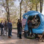 Magic Snail coffee truck inKhreshchatyk Park in Kiev, Ukraine.