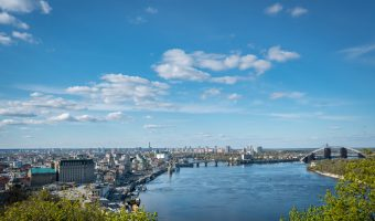 View of the Dnieper River, Podil, and Obolon from the viewing platform in Khreshchatyk Park.