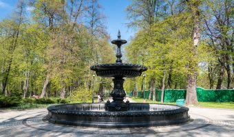 Fountain in City Garden, a beautiful park in Kiev city centre.