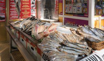 Fish stall at Besarabsky Market in Kiev, Ukraine