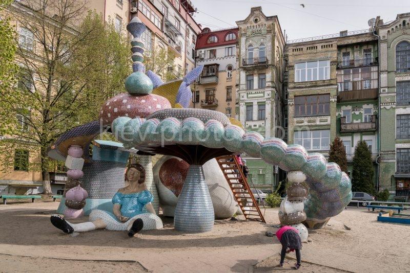 Playground equipment themed around Alice In Wonderland at Landscape Alley (Peizazhna Alley) in Kiev, Ukraine.