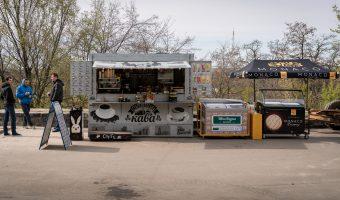 Coffee truck at Landscape Alley (Peizazhna Alley) in Kiev, Ukraine.