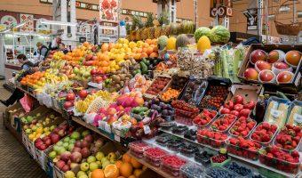 Fruit stall at Besarabsky Market, an indoor market in Kiev, Ukraine.