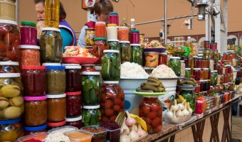 Stall at Besarabsky Market in Kiev selling bottled fruit and vegetables