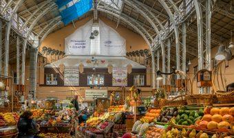 Fruit stalls at Besarabsky Market, an indoor market in Kiev, Ukraine