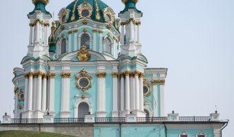 Photo of St Andrew's Church in Kiev, Ukraine. Taken from Andrew's Descent.