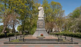 Statue of Nikolai Vatutin in Mariinsky Park, Kiev. Vatutin was a Soviet military commander during the Second World War.