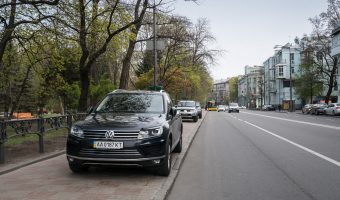 Cars parked illegally on the sidewalk/pavement in Kiev city centre