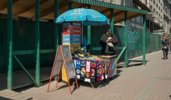 Street vendor on Khreshchatyk, near Independence Square, selling souvenirs and SIM cards (Vodafone, Kyivstar, and Lifecell).