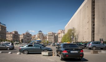 Taxis parked on Independence Square in Kiev, Ukraine