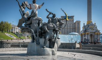 Monument to the Founders Of Kiev, a fountain on Independence Square in Kiev city centre.