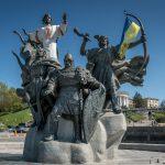 Monument to the Founders Of Kiev, a fountain on Independence Square (Maidan Nezalezhnosti) in Kiev, Ukraine.