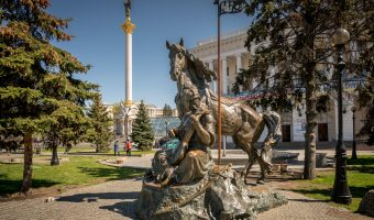 Statue of Ukrainian folklore hero Cossack Mamay on Independence Square in Kiev.