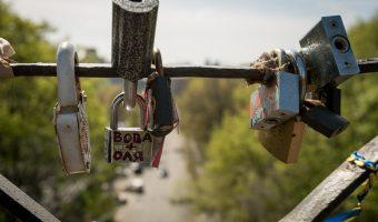 View of Petrivska Alley from Lovers Bridge in City Garden park in Kiev, Ukraine