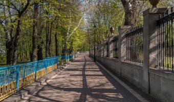 Path in City Garden park running alongside the Valeriy Lobanovskyi Dynamo Stadium