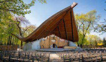 Open-air theatre with wooden roof in City Garden park in Kiev, Ukraine