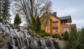 Waterfall and home at Mezhyhirya, the estate once occupied by former President of Ukraine, Viktor Yanukovych.