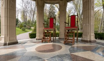 Gazebo with oversized chairs at the Mezhyhirya, the estate formerly occupied by Viktor Yanukovych.