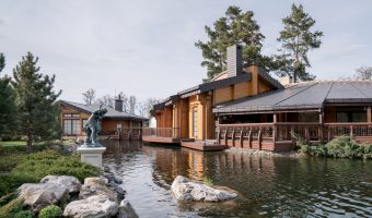 Wooden spa and sauna complex at Mezhyhirya, the former home of Viktor Yanukovych.