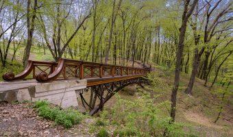 Wood and metal bridge at Mezhyhirya, the former estate of Viktor Yanukovych.