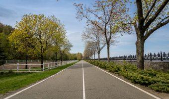 Road running along the shoreline of the Kiev Reservoir (aka Kiev Sea). Situated at Mezhyhirya.