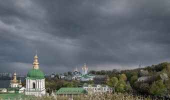 Kiev Pechersk Lavra - View of Lower Lavra and Motherland Monument