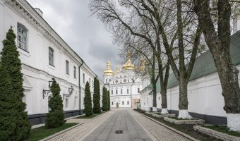 View of Dormition Cathedral from path to All Saints Church at Kiev Pechersk Lavra