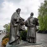 Statue of Saints Cyril and Methodius at Kiev Pechersk Lavra