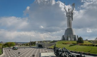 Motherland Monument, a stainless steel statue, at the National Museum Of The History Of Ukraine In The Second World War in Kiev, Ukraine