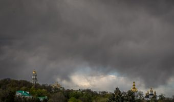 View of Pechersk Lavra from National Museum Of The History Of Ukraine In The Second World War in Kiev, Ukraine