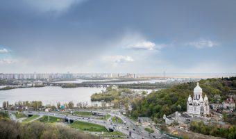 View of Druzhby Narodiv Boulevard and Darnytskyi Bridge in Kiev