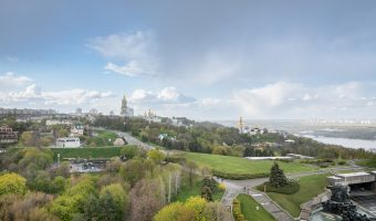 View of Pechersk Lavra from the observation platform at the Motherland Monument.