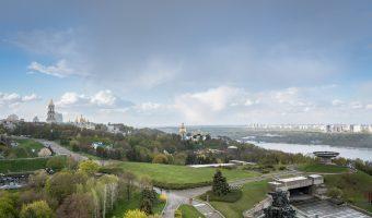 Pechersk Lavra viewed from the Motherland Monument (Rodina Mat)