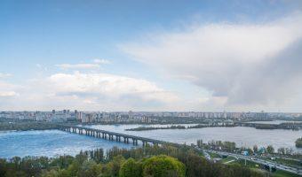 Paton Bridge and River Dnieper in Kiev, Ukraine