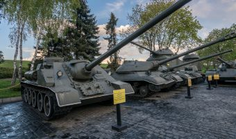 Soviet SU-100 tank (1944) on display at the National Museum of the History of Ukraine in the Second World War in Kiev.