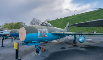 Mikoyan-Gurevich MiG-17 Soviet fighter aircraft on display at the National Museum of the History of Ukraine in the Second World War in Kiev.