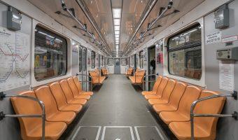 Interior of a carriage on a Kiev Metro train.