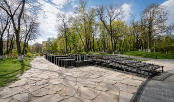 Entrance to Holodomor Victims' Memorial museum in the Park of Eternal Glory