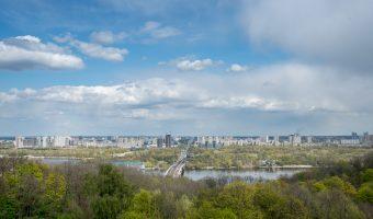 View of the Kiev Metro Bridge from the Park of Eternal Glory